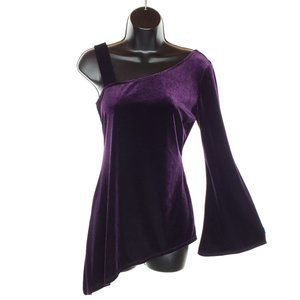 VINTAGE Velour Bell Sleeve Asymmetrical Top Purple